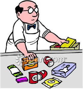 Grocery Store Clerk Bagging Groceries   Royalty Free Clipart Picture