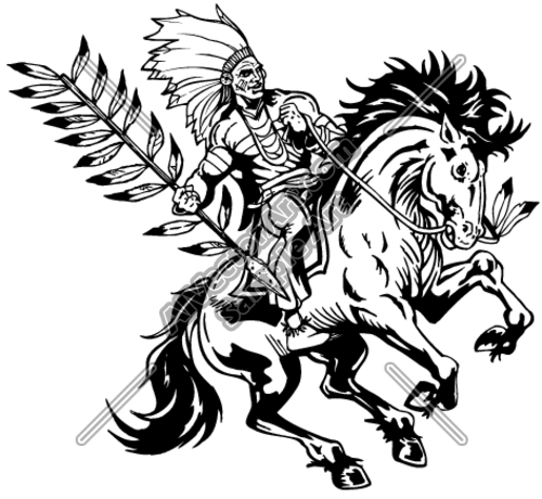Indian On Horseback With Feather Spear Clipart And Vectorart  Sports