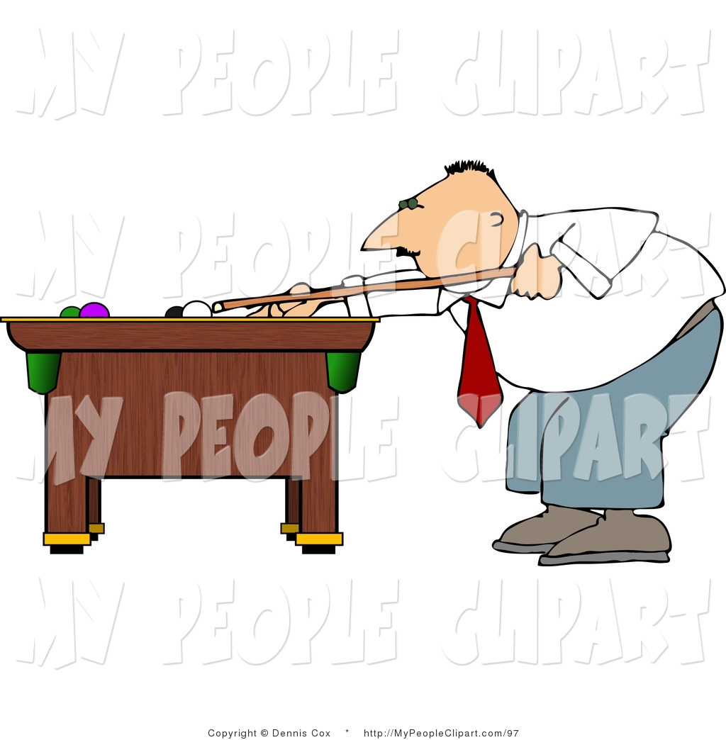 Larger Preview  Clip Art Of A Businessman Shooting A Game Of Pool
