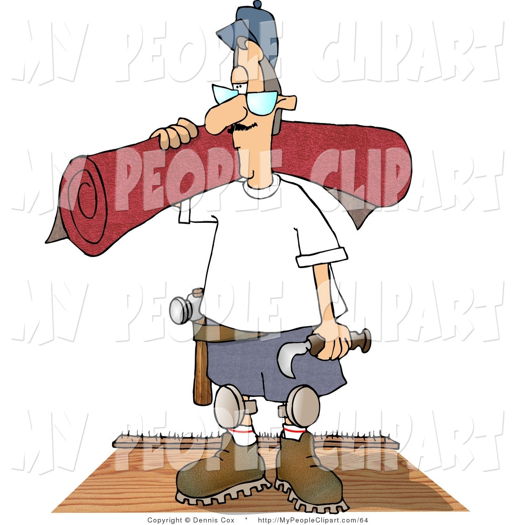 Larger Preview  Clip Art Of A Caucasian Floor Man Installing New