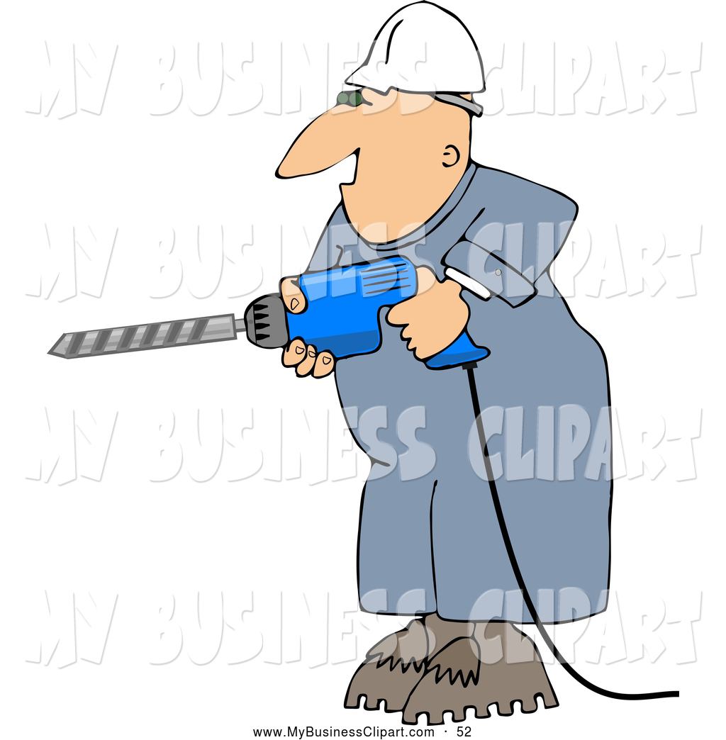 Larger Preview  Clip Art Of A Happy Male Construction Worker Drilling