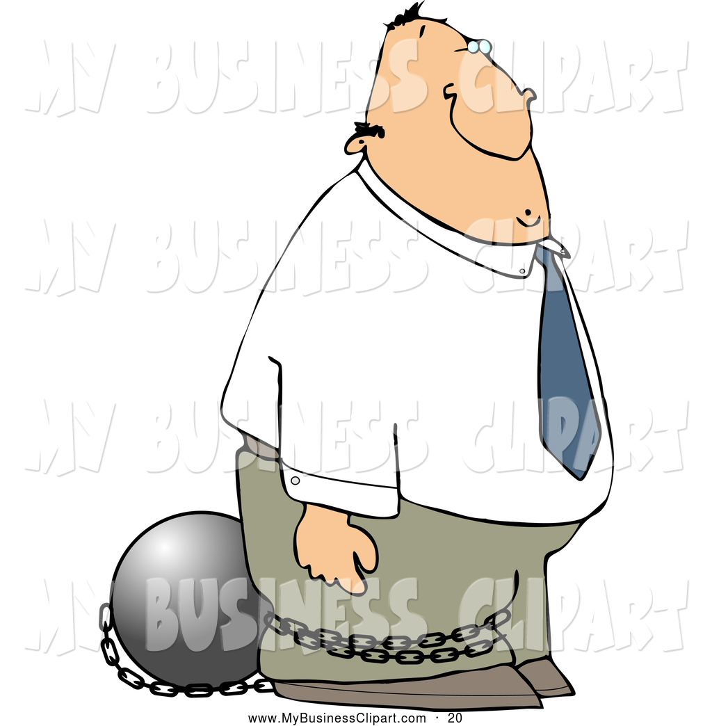 Larger Preview  Clip Art Of A White Convicted Businessman Wearing A