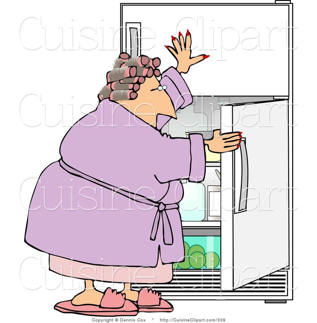 Larger Preview  Cuisine Clipart Of A Fat Woman Looking In The Fridge