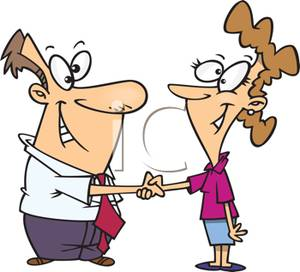 Man And Woman Shaking Hands In Agreement   Royalty Free Clipart