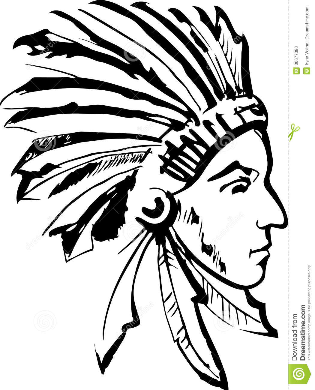 Native American Indian Chief  Black And White