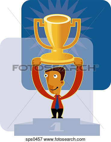 Of A Boy Holding His First Place Trophy Sps0457   Search Eps Clipart