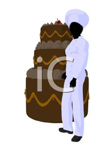 Pastry Chef Standing Next To A Tiered Cake   Royalty Free Clipart