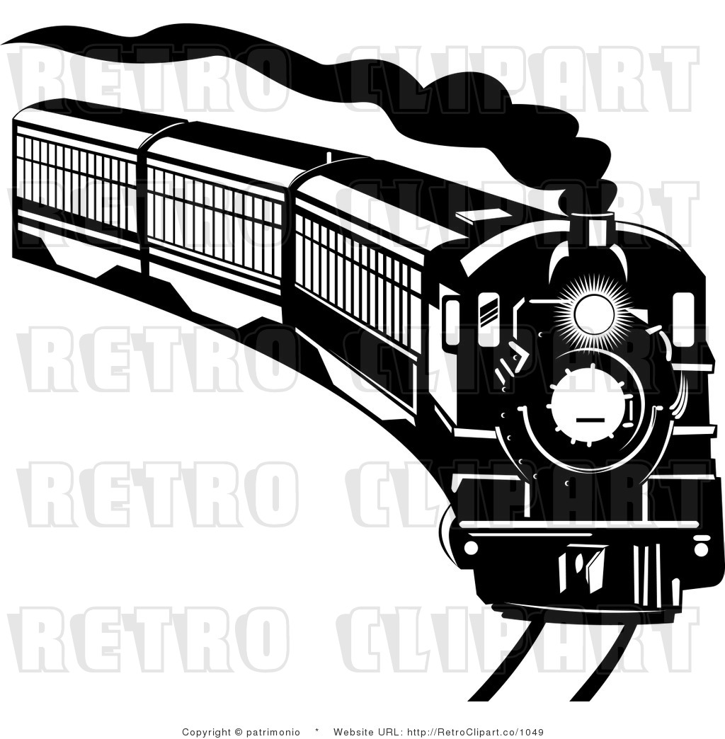 Royalty Free Retro Black And White Steam Engine Speeding Around A