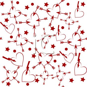 St Valentine S Day Background Of Red Hearts With Arrows On A White