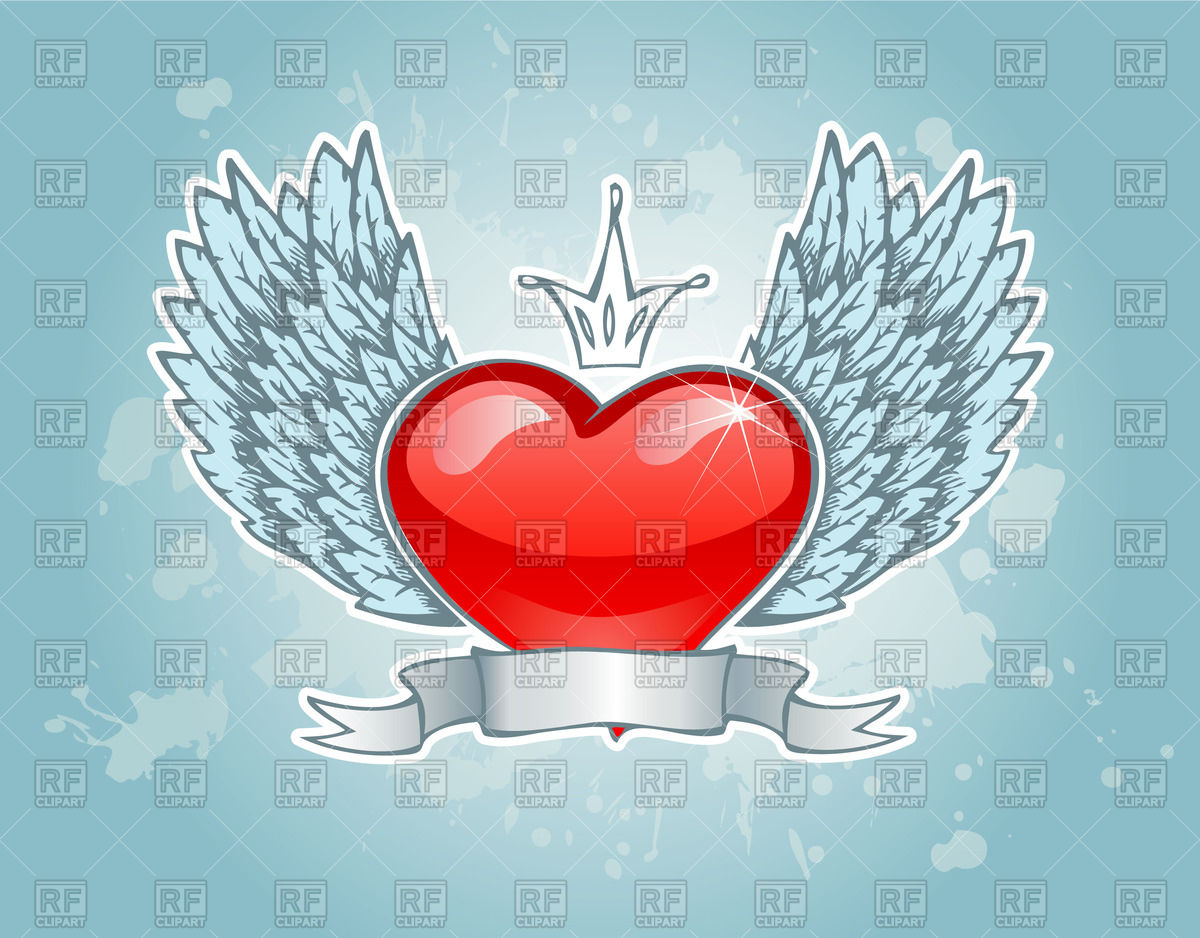 St  Valentine S Day Emblem   Tattoo Styled Winged Heart With Crown And