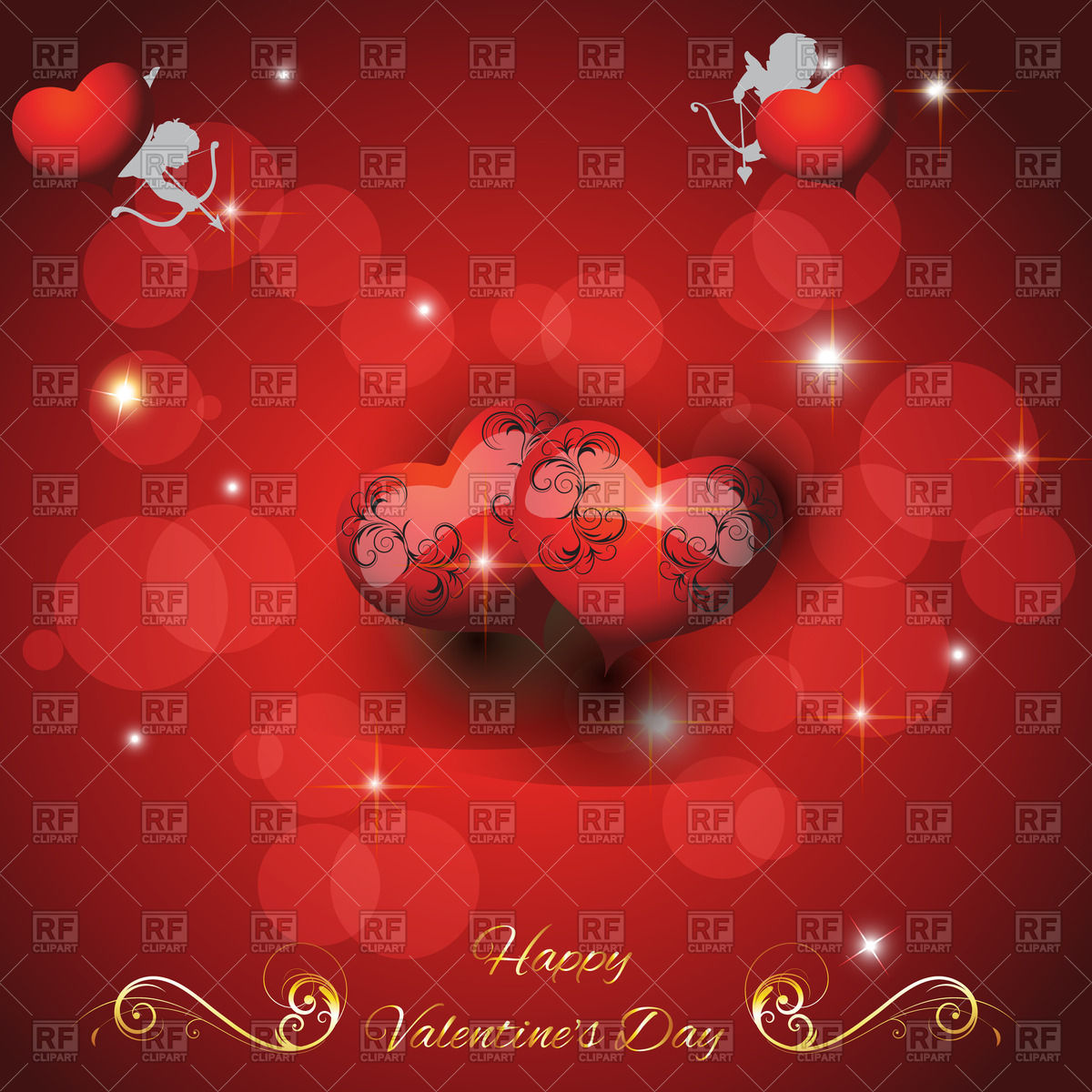 St  Valentine S Day Festive Background With Hearts And Cupids 55266