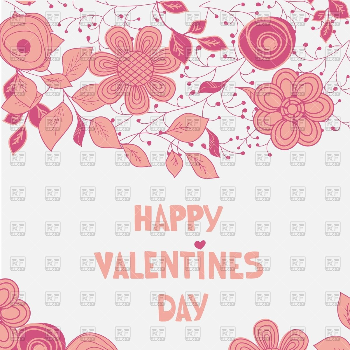 St  Valentine S Day Greeting Card   Hand Drawn Pink Flowers 53407