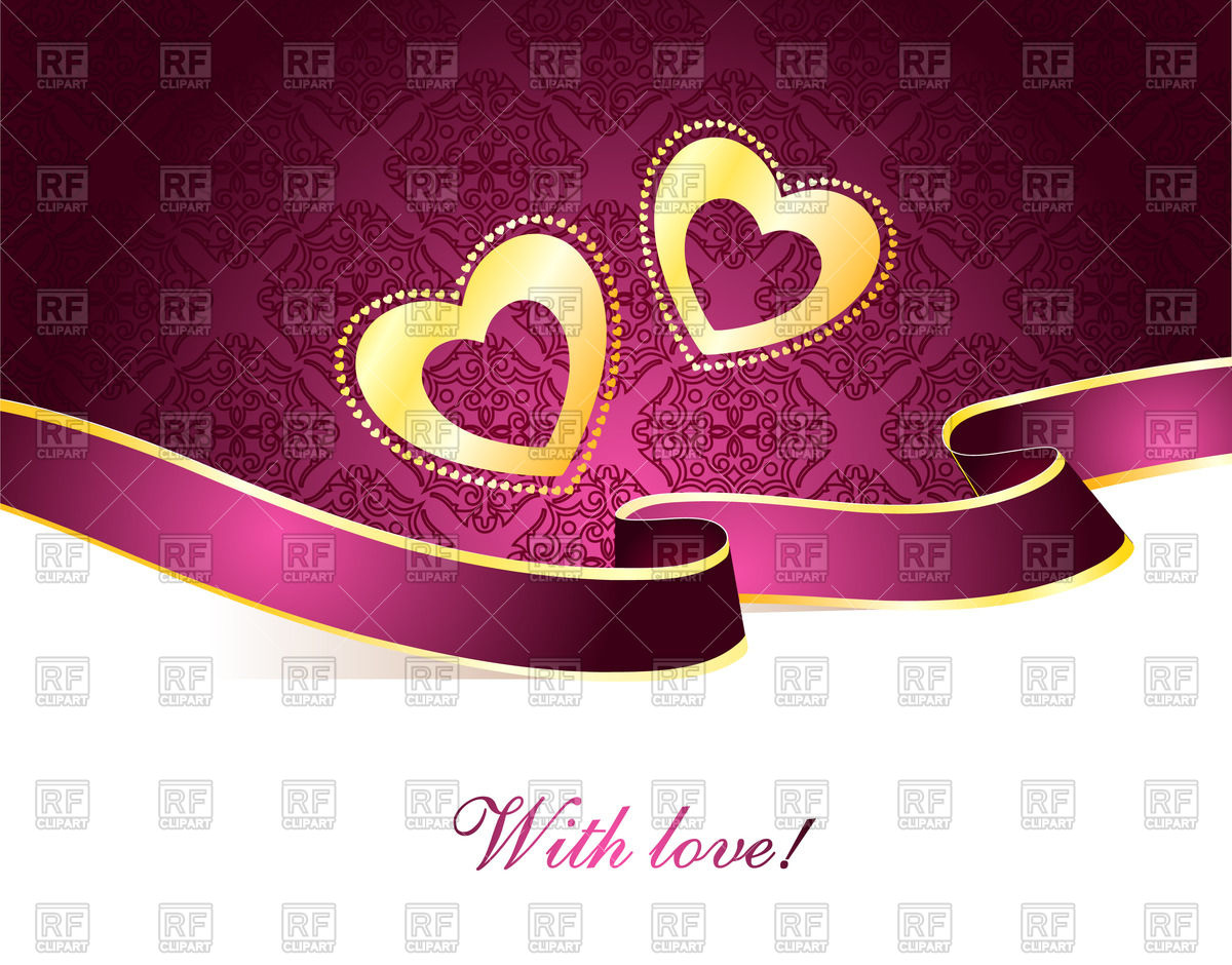 Violet Luxurious St  Valentine S Day Greeting Card   Two Hearts