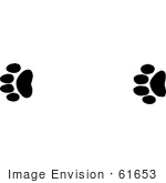61653 Clipart Of Mountain Lion Tracks In Black And White   Royalty