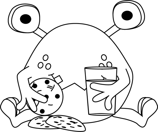 Black And White Monster Eating Cookies Clip Art Image   Black And