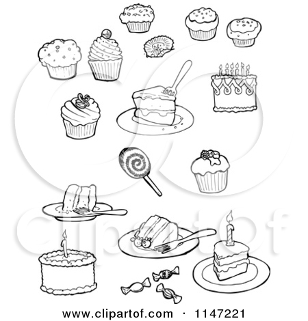 Cakes And Pies Black And White Clipart - Clipart Kid