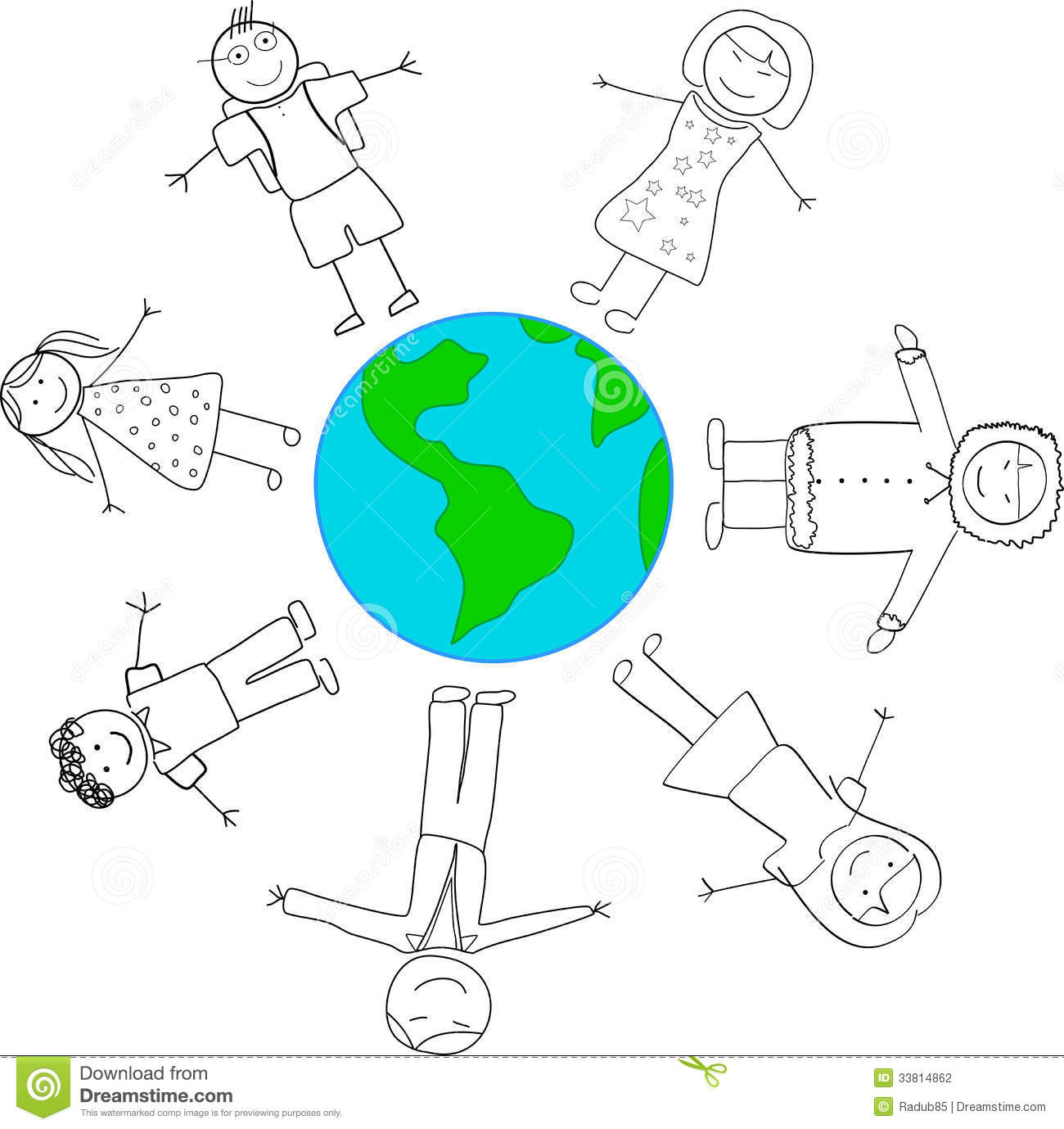 Children Cultural Diversity Holding Hands Around Planet Earth