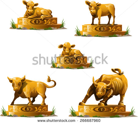 Golden Statues From The Calf To The Bull   Stock Vector