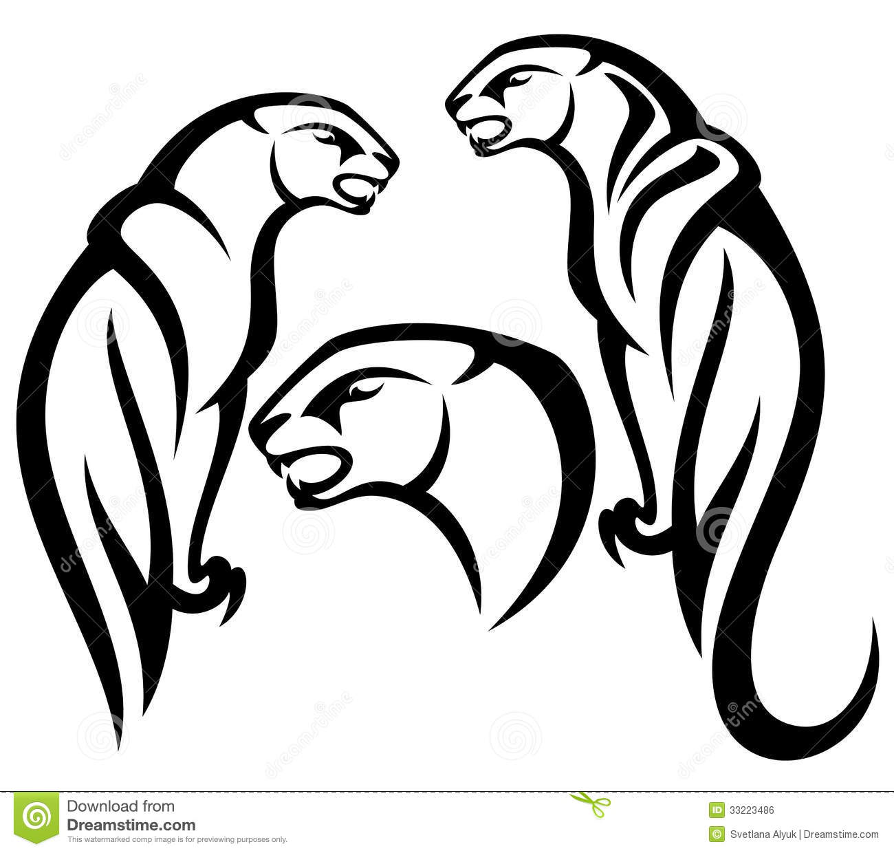 Mountain Black And White Outline Panther Tribal Design Black White