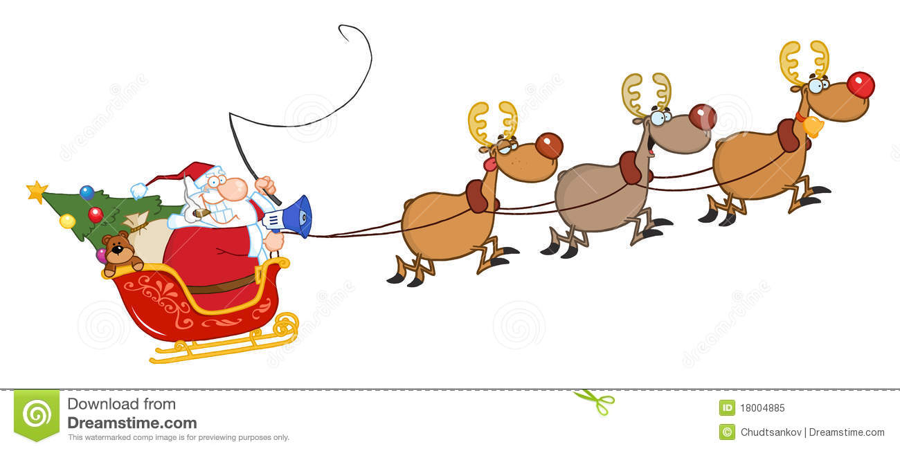 Cartoon Santa Sleigh And Reindeer Images & Pictures - Becuo