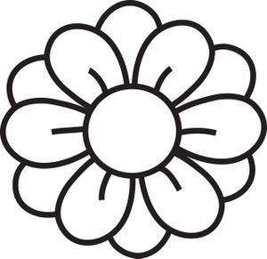 Simple Flower Clipart Black And White Black And White Clip Art