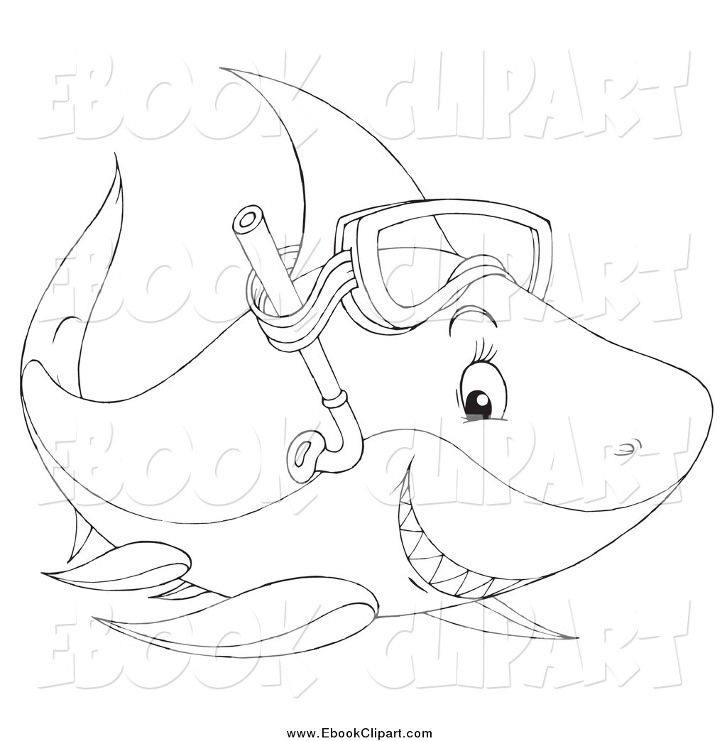 Art Of A Black And White Happy Snorkel Shark By Alex Bannykh    987