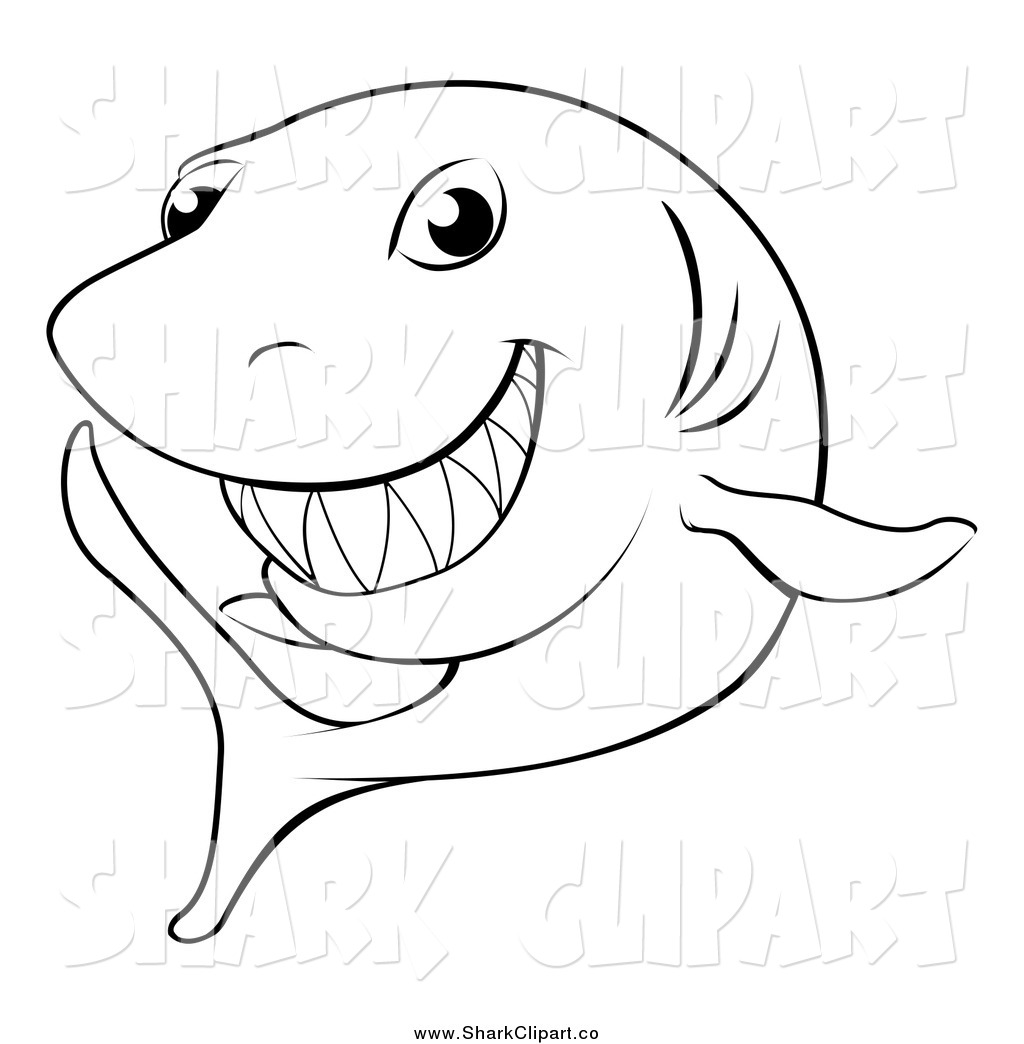 Black And White Happy Shark Shark Clip Art Geo Images