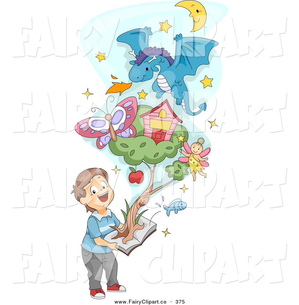 Clip Art Of A Boy Holding A Pop Up Book With A Fairy And Items