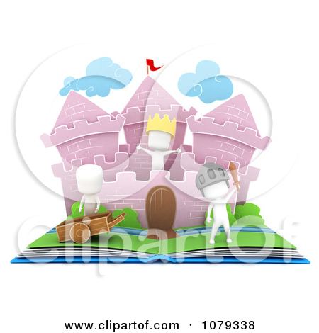 Clipart 3d Ivory Kids In A Pop Up Castle Story Book   Royalty Free Cgi