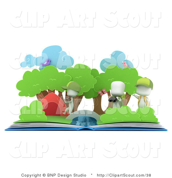 Clipart Of 3d White Kids And A Pop Up Book By Bnp Design Studio    38