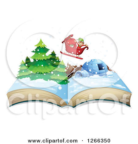 Clipart Of A Christmas Elf Flying A Sleigh Over A Pop Up Book