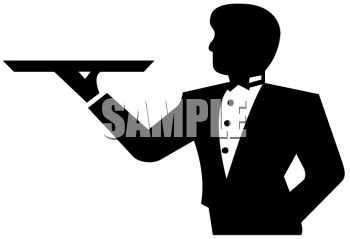 Clipart Picture Of A Waiter Holding A Tray   Foodclipart Com