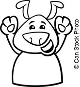 Happy Dog Cartoon Coloring Page   Black And White Cartoon