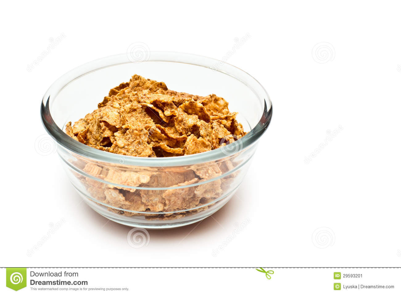Healthy Diet Breakfast Cereals From The Grain In Clear Glass Bowl