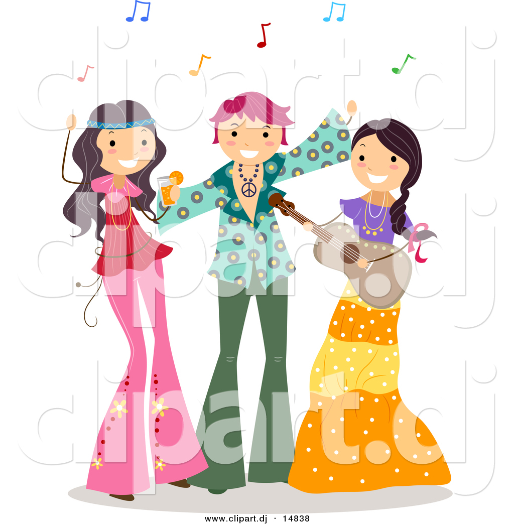 Larger Preview  Cartoon Vector Clipart Of Happy Teens At A Hippie