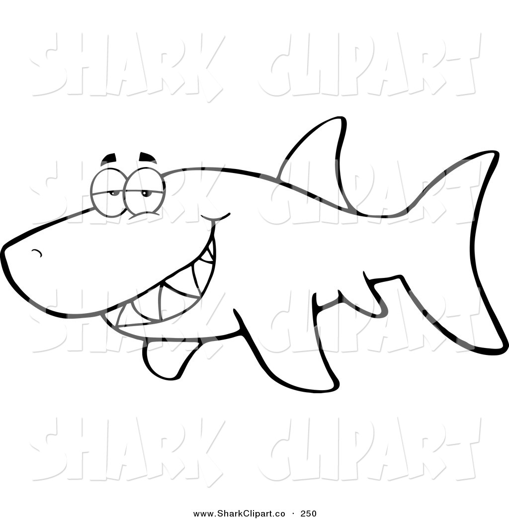 Royalty Free Coloring Book Page Stock Shark Clipart Illustrations