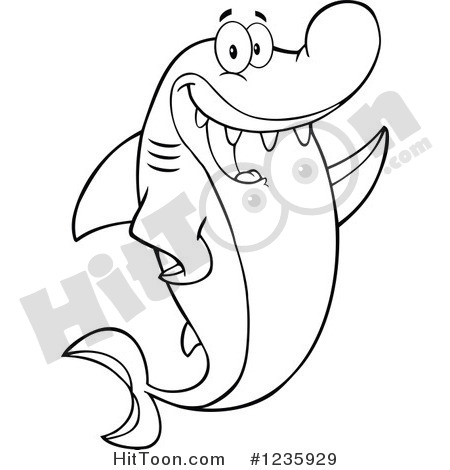 Shark Clipart  1235929  Black And White Shark Character Waving By Hit