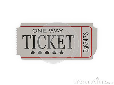 Ticket Wiht Conceptual Text On White Backgound