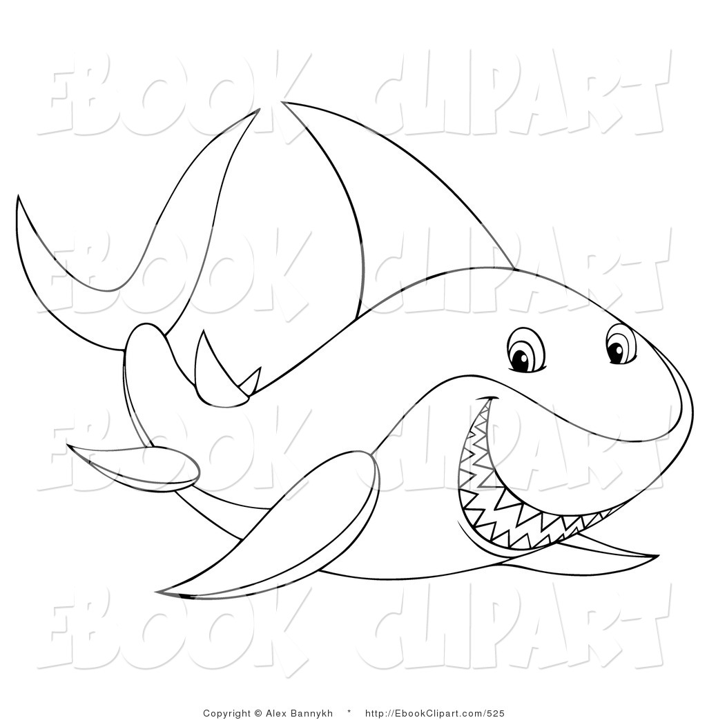 Vector Clip Art Of A Black And White Grinning Shark Coloring Page