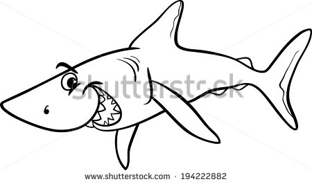Vector Illustration Of Shark Fish Sea Life Animal For Coloring Book