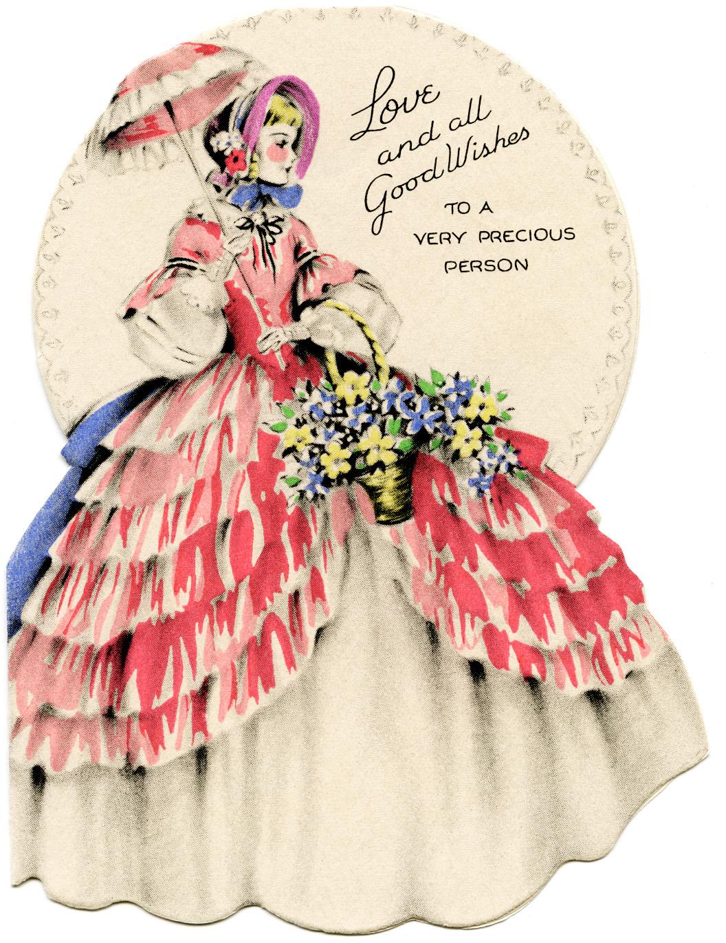 vintage birthday card retro birthday greeting card girl and kitten, Birthday card