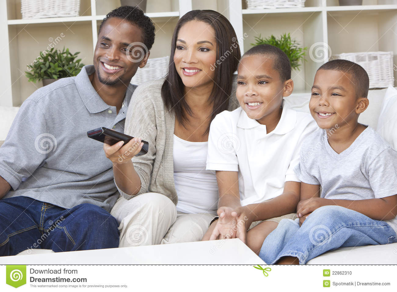 African American Family Mother   Father Parents And Two Sons Having
