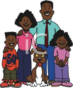 African American Family With Their Dog   Royalty Free Clipart Picture