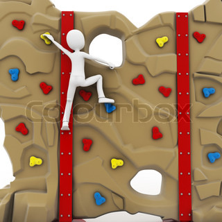 Business Man Climbing Stairs 3d Rendered Illustration Stock Photo