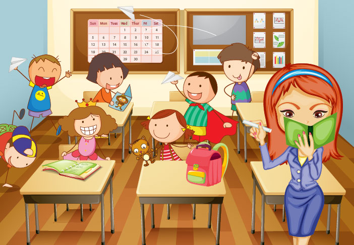 Cartoon Children Back To School Illustration Vector 3