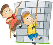 Children Climbing Wall Mountain Isolated Climbing Silhouettes Climbing