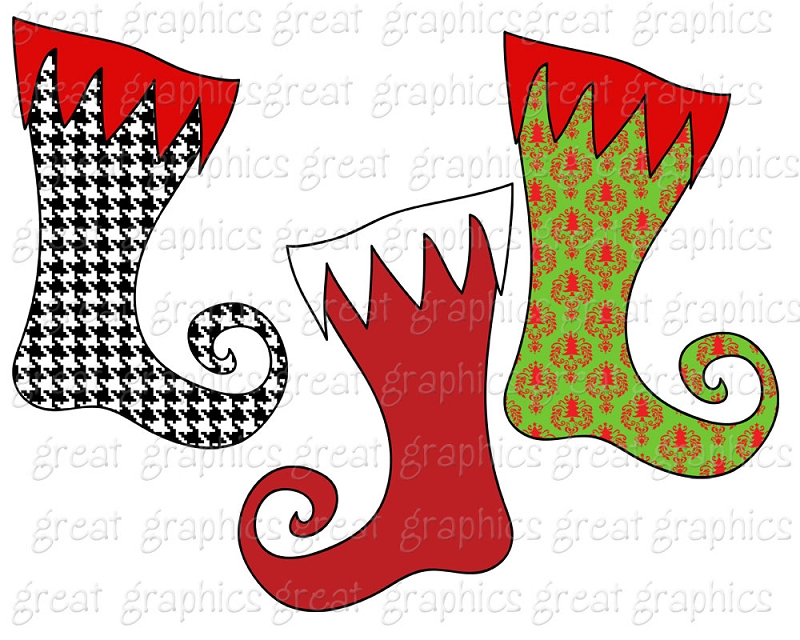 Clip Art Christmas Digital Printable Christmas Curly Stocking Clip Art