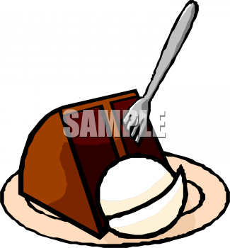 Clip Art Picture Of A Slice Of Chocolate Cake With A Scoop Of Vanilla