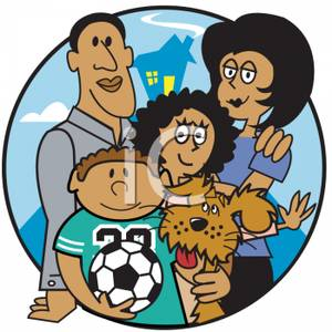 Happy African American Family With Family Dog   Royalty Free Clipart