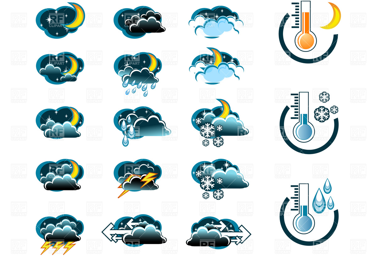 Night Weather Forecast Icon Set And Thermometers Icons And Emblems
